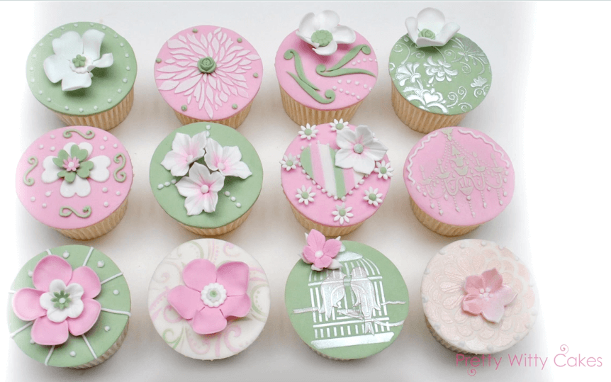 Pastel pink and green cupcakes using complimentary colours at Pretty Witty CAkes