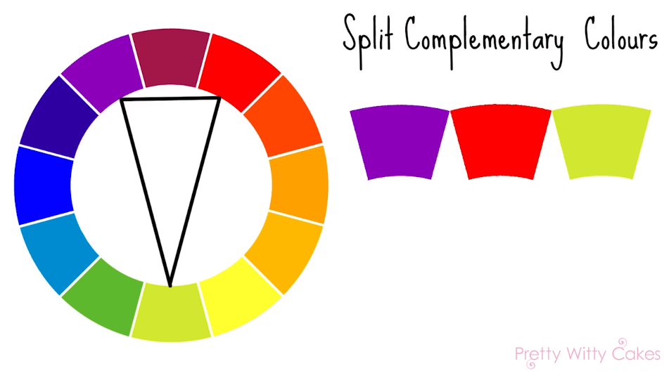Split complimentary colours at Pretty Witty Cakes