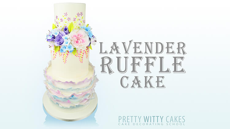 HOw to make a Lavender Ruffle Cake tutorial at Pretty Witty Academy