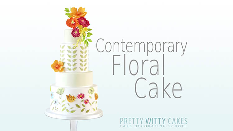 Contemporary floral cake at Pretty Witty Academy