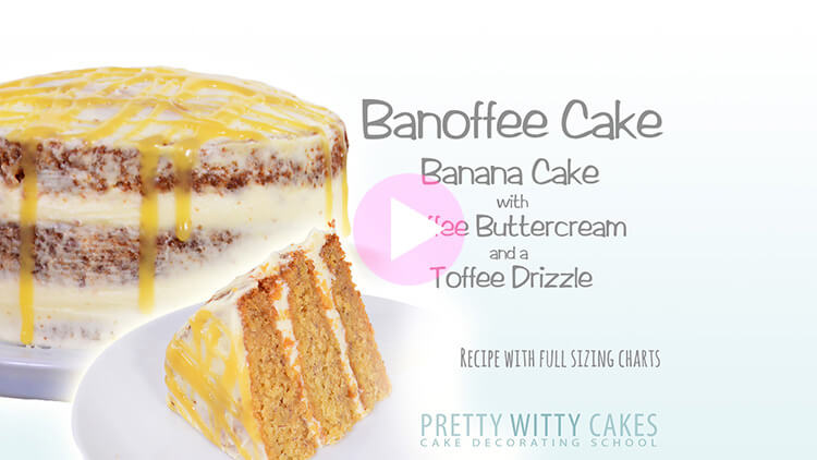 Banoffee Cake With Toffee Drizzle tutorial at Pretty Witty Cakes