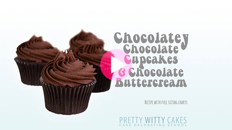 Chocolatey Chocolate Cupcakes tutorial at Pretty Witty Cakes
