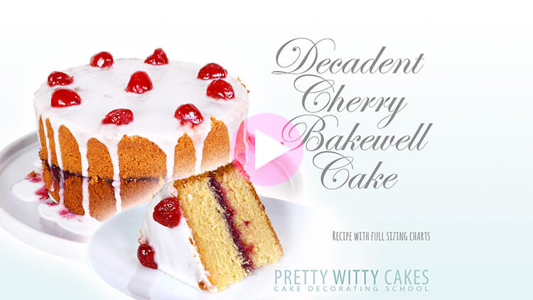 Decadent Cherry Bakewell Cake tutorial at Pretty Witty Academy