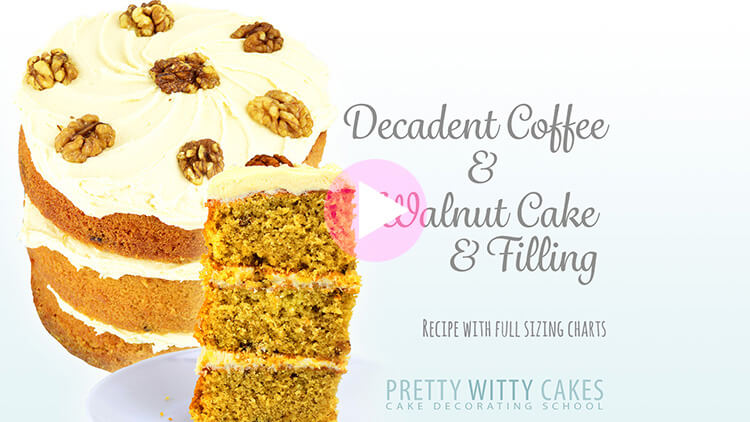 Decadent Coffee And Walnut Cake tutorial at Pretty Witty Cakes