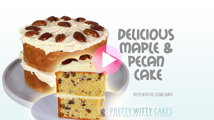 Delicious Maple And Pecan Cake tutorial at Pretty Witty Cakes