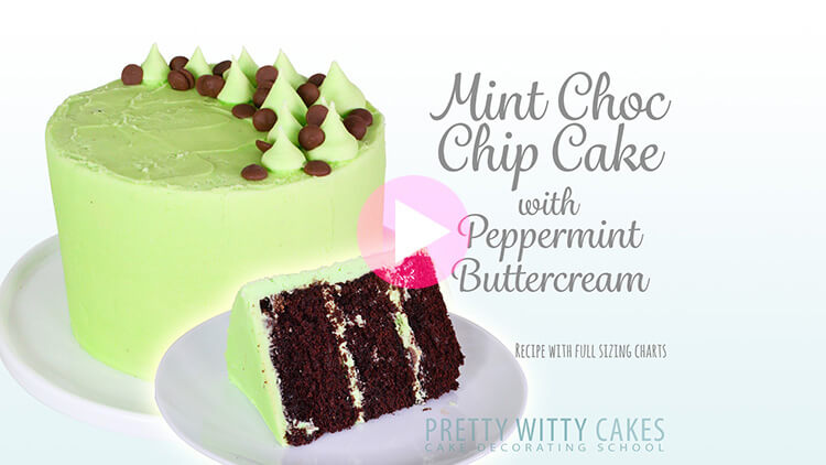 Mint Choc Chip Cake tutorial at Pretty Witty Cakes