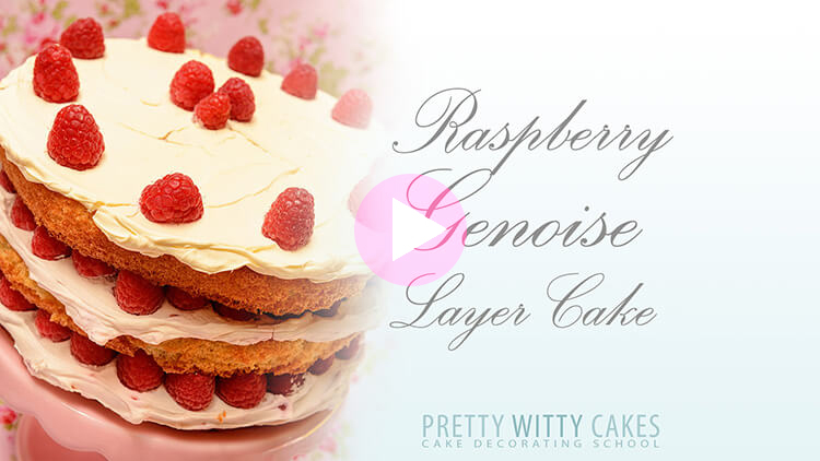 Raspberry Genoise Spong Cake Tutorial at Pretty Witty Cakes
