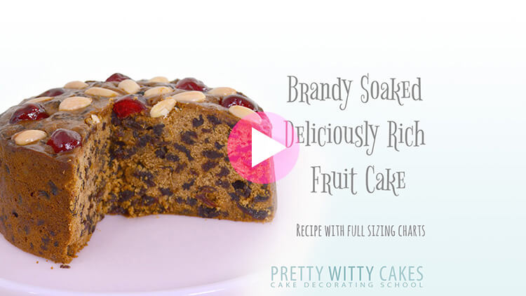 Boozy brandy rich fruit cake tutorial at Pretty Witty Cakes