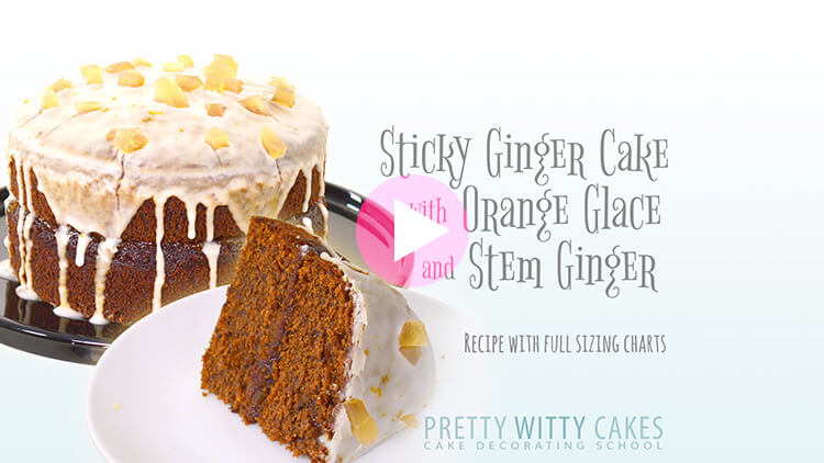 Sticky Ginger Cake tutorial at Pretty Witty Cakes