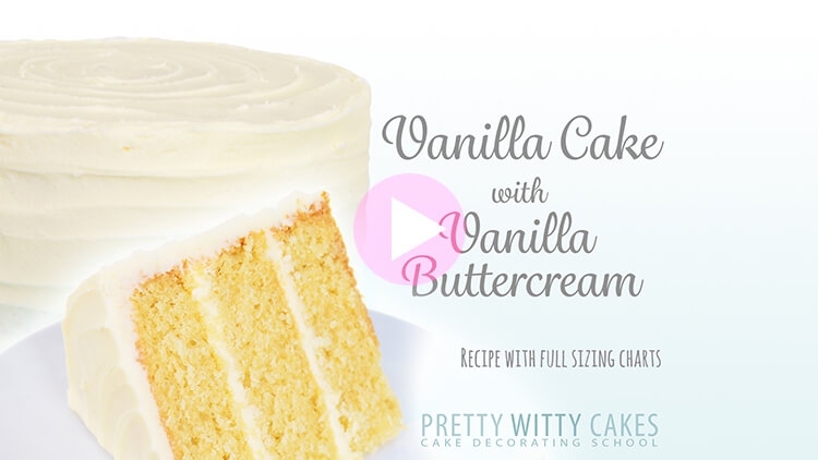 Vanilla Cake with Vanilla Buttercream tutorial at Pretty Witty Academy