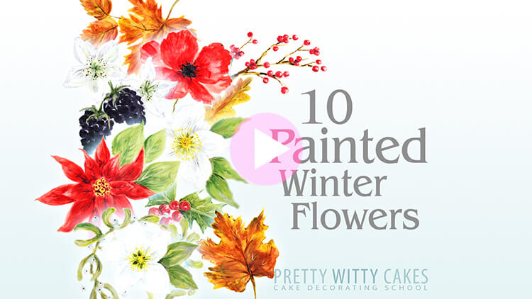 Painted Winter Flowers Tutorial Preview at Pretty Witty Academy