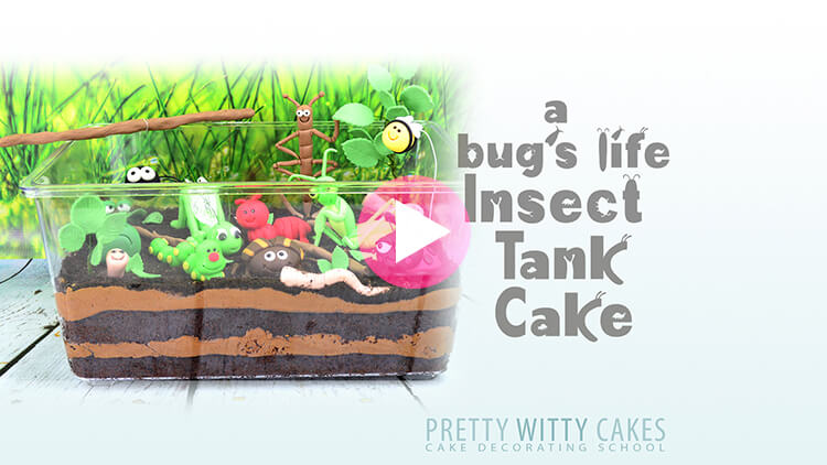 A Bugs Life Insect Tank Cake prevew tutorial at Pretty Witty Academy
