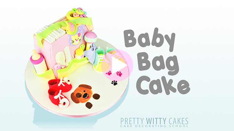 Baby Bag Cake Tutorial Preview at Pretty Witty Academy