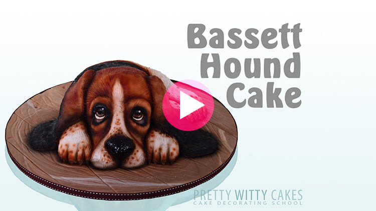 Bassett Hound Cake Tutorial Preview at Pretty Witty Academy