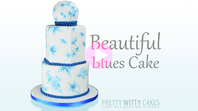 Beautiful Blues Cake Tutorial Preview at Pretty Witty Academy