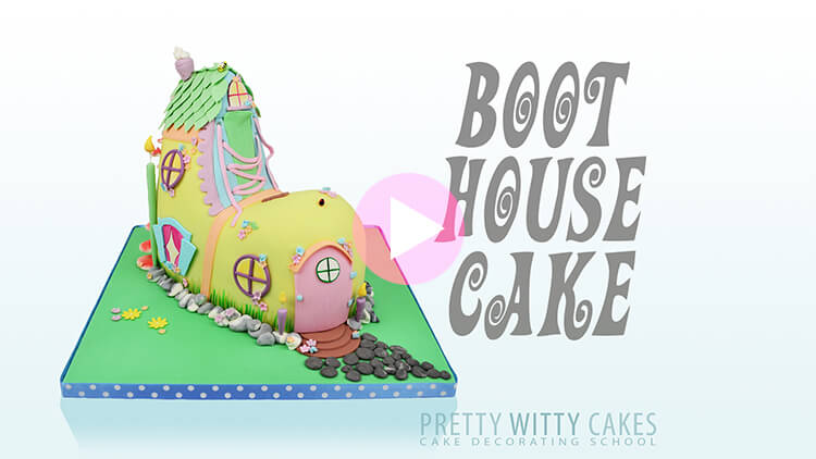 Boot House Cake Tutorial Preview at Pretty Witty Academy