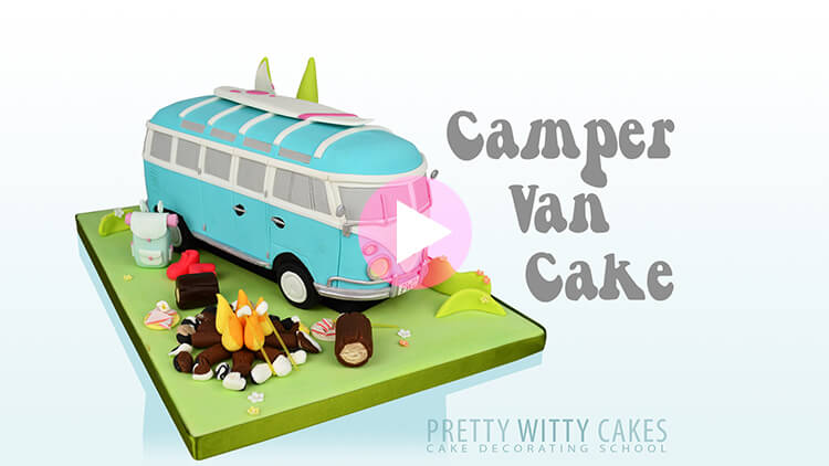 Camper Van Cake preview tutorial at Pretty Witty Academy