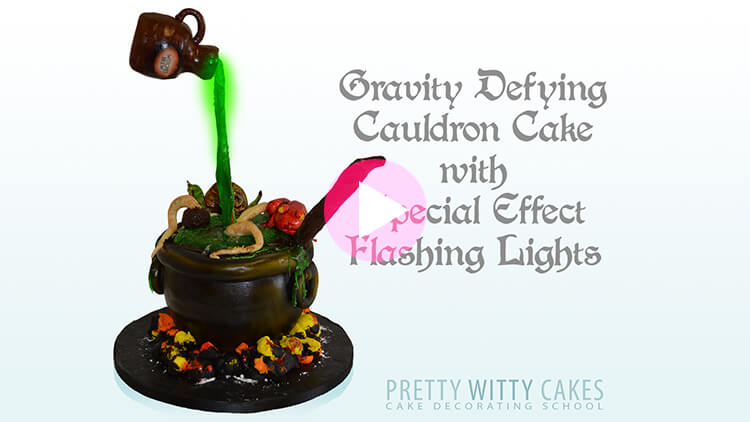 Cauldron Cake Tutorial Preview at Pretty Witty Academy