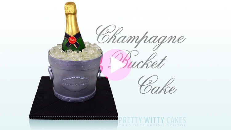 Champagne Bucket Cake tutorial preview at Pretty Witty Academy