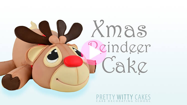 Xmas Reindeer Cake Tutorial Preview at Pretty Witty Academy