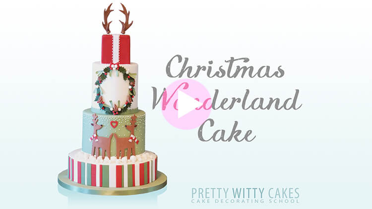 Christmas Wonderland Cake Tutorial Preview at Pretty Witty Academy