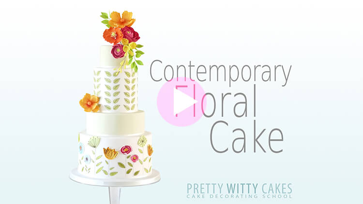 Contemporary Floral Cake tutorial preview at Pretty Witty Academy