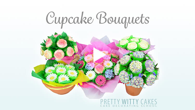 Cupcake Bouquets tutorial preview at Pretty Witty Academy