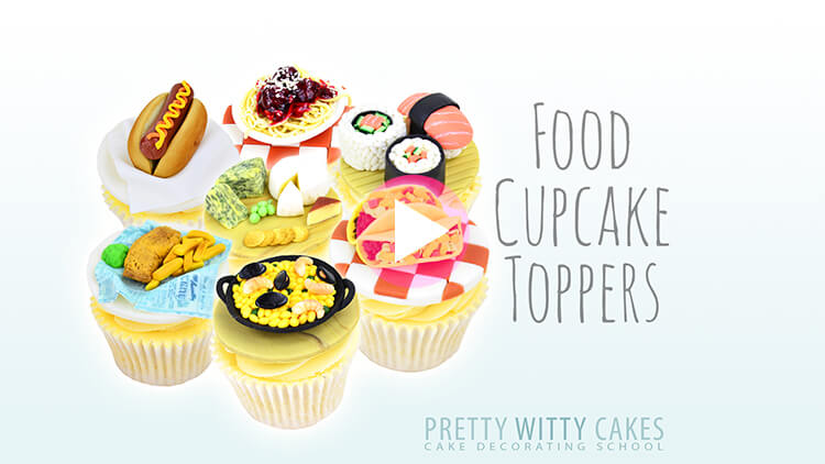 Food cupcakes Cake tutorial at Pretty Witty Academy