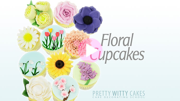 Floral Cupcakes Tutorial Preview at Pretty Witty Academy