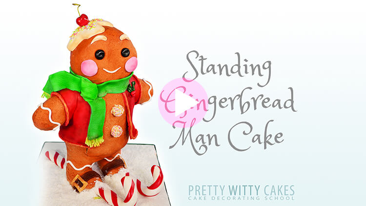 Gingerbread Man Cake Tutorial Preview at Pretty Witty Academy