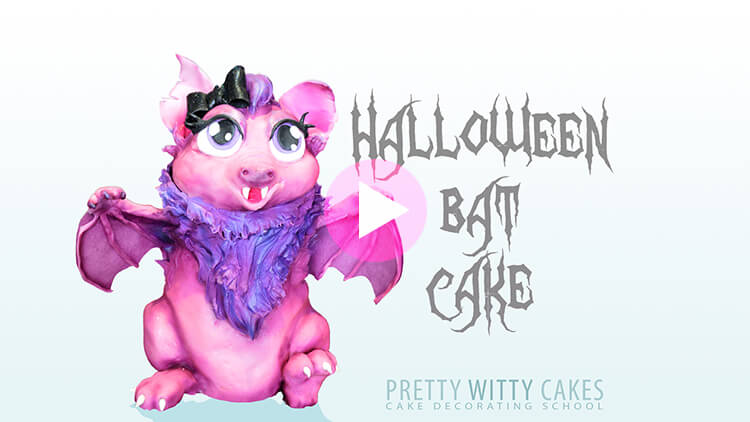 Halloween Bat Cake Tutorial Preview at Pretty Witty Academy