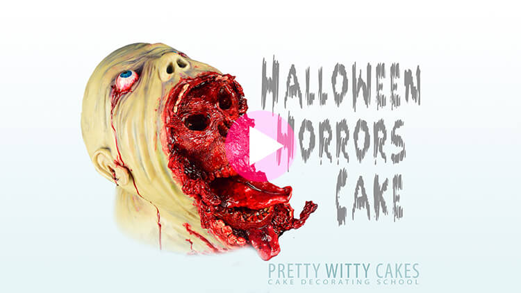 Halloween Horrors Cake Tutorial Preview at Pretty Witty Academy