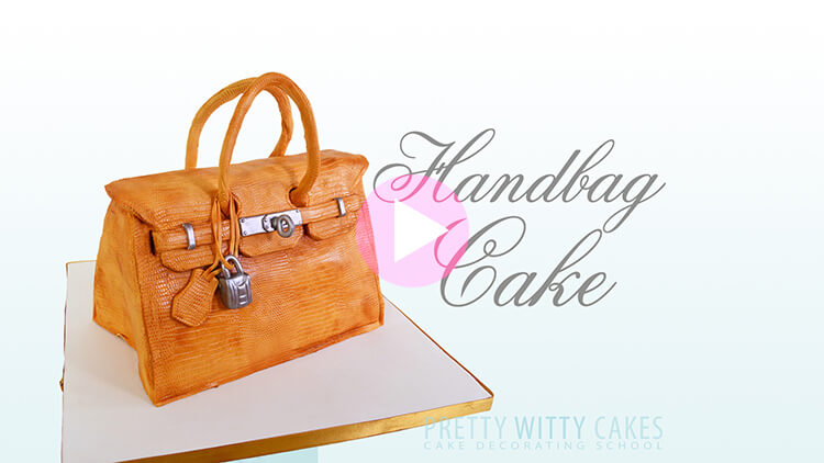Leather Handbag Cake tutorial preview at Pretty Witty Academy
