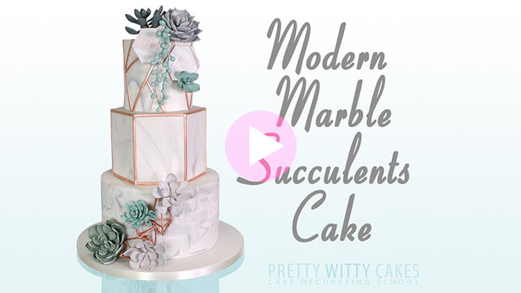 Modern Marble Succulent Cake tutorial preview at Pretty Witty Academy