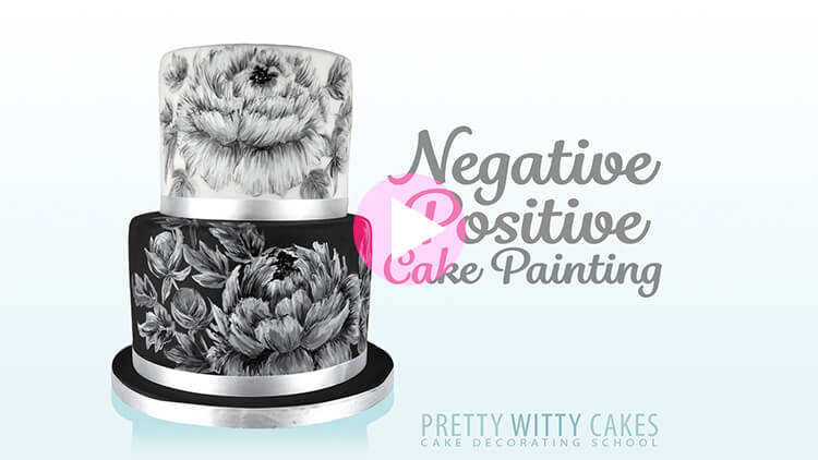 Negative Positive Cake Painting Tutorial Preview at Pretty Witty Academy