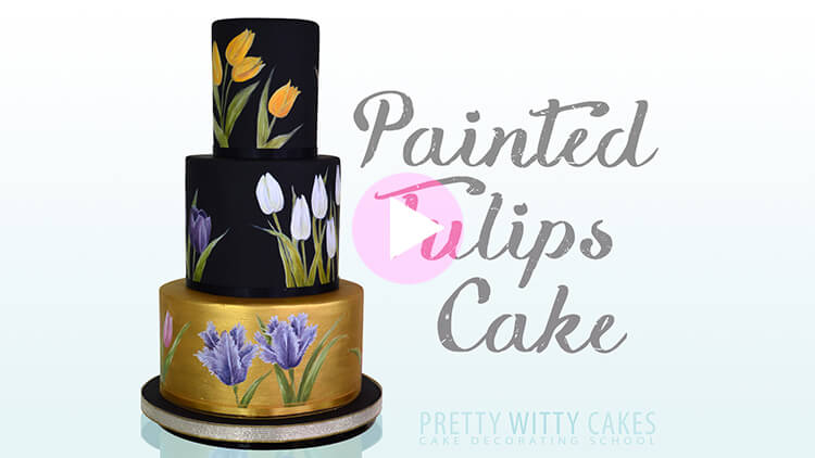 Painted Tulips Cake Tutorial Preview at Pretty Witty Academy