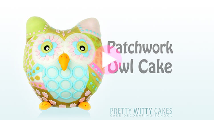 Patchwork Owl Cake Tutorial Preview at Pretty Witty Academy