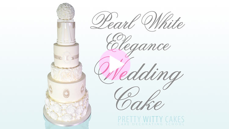 Pearl White Elegance Wedding Cake Tutorial Preview at Pretty Witty Academy