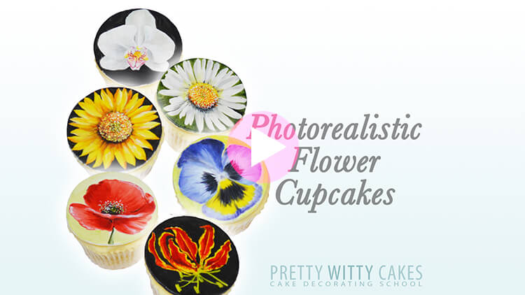 Photorealistic Flower Cupcakes Tutorial Preview at Pretty Witty Academy