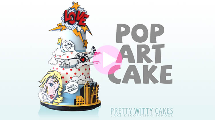 Pop Art Cake - tutorial preview at Pretty Witty Academy