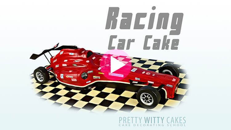 Racing Car Cake Tutorial Preview at Pretty Witty Academy