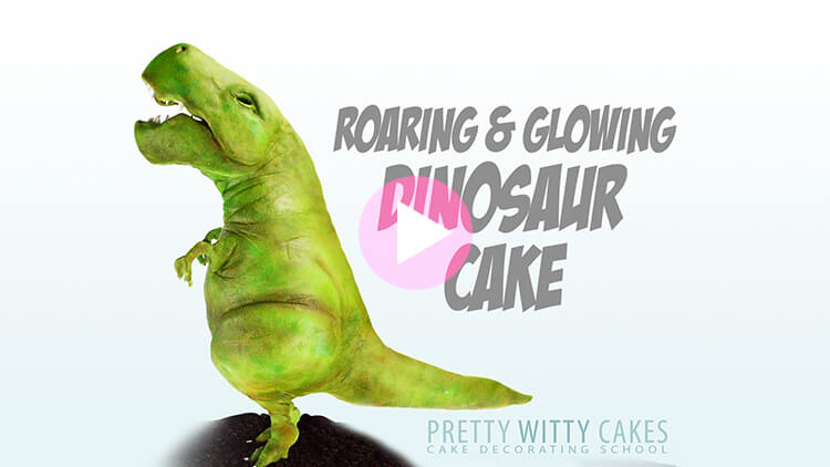 Dinosaur Cake Tutorial Preview at Pretty Witty Academy