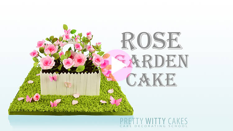 Rose Garden Cake Tutorial Preview at Pretty Witty Academy