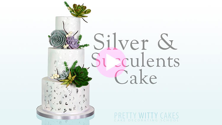 Silver and Succulents Cake Tutorial Preview at Pretty Witty Academy