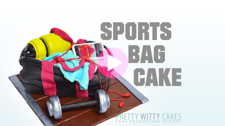 Sports Bag Cake Tutorial Preview at Pretty Witty Academy