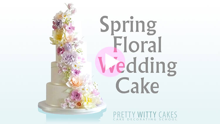 Spring Floral Wedding Cake tutorial at Pretty Witty Academy