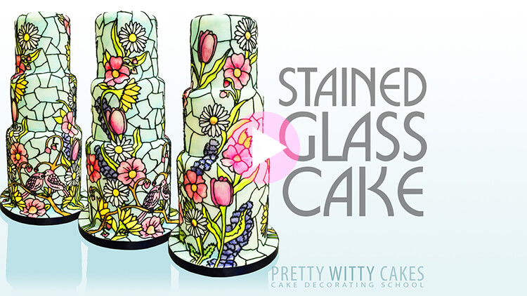 Stained Glass Cake Tutorial Preview at Pretty Witty Academy