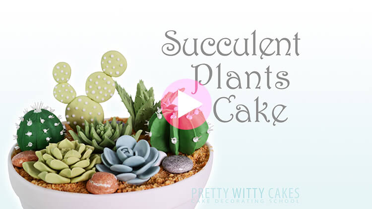 Succulent Plants Cake Tutorial Preview at Pretty Witty Academy