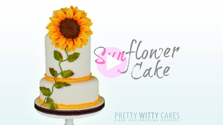 Sunflower Cake Tutorial Preview at Pretty Witty Academy