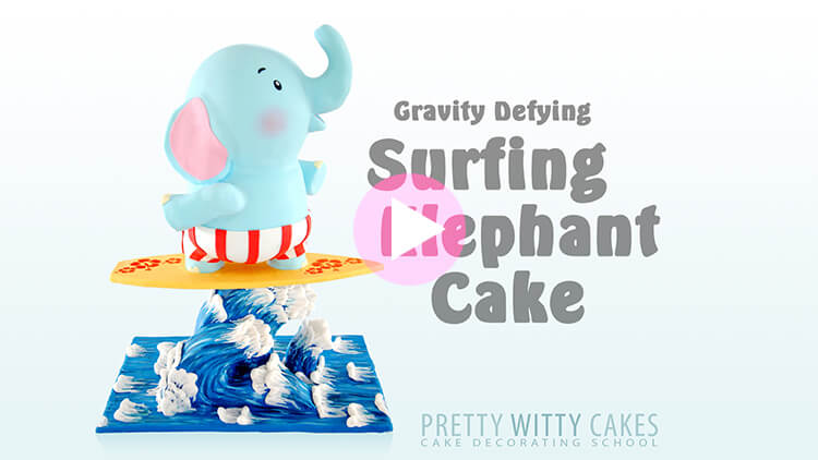 Surfing Elephant Cake Tutorial Preview at Pretty Witty Academy